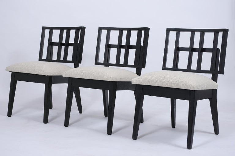 Carved Set of Six Mid-Century Modern Ebonized Dining Chairs For Sale