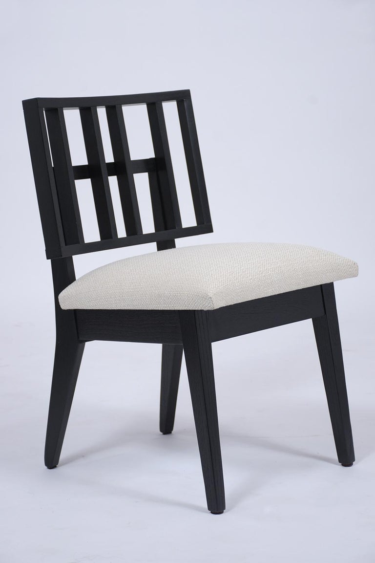 Fabric Set of Six Mid-Century Modern Ebonized Dining Chairs For Sale