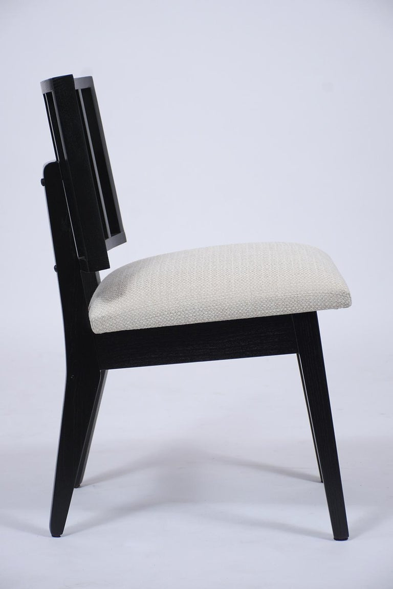 Set of Six Mid-Century Modern Ebonized Dining Chairs For Sale 2