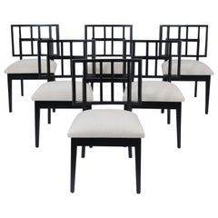 Set of Six Mid-Century Modern Ebonized Dining Chairs