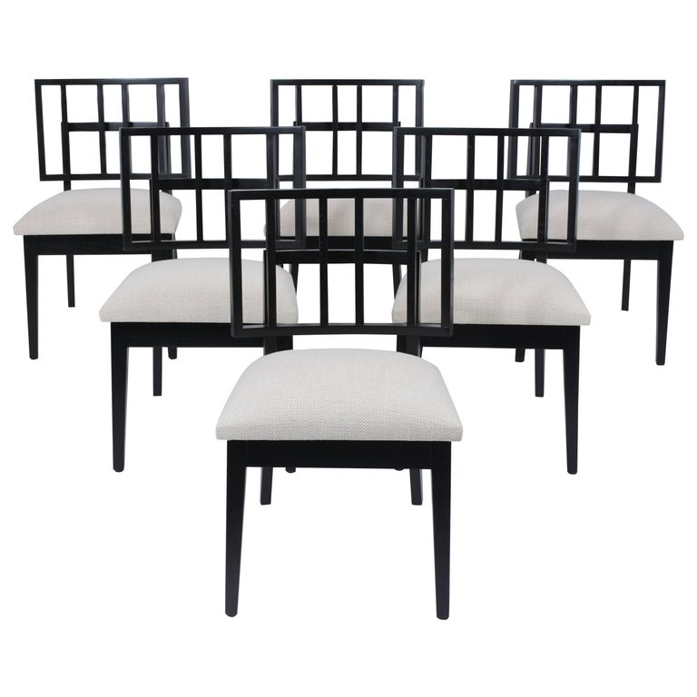 Set of Six Mid-Century Modern Ebonized Dining Chairs For Sale