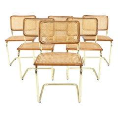 Set of Six Mid-Century Modern Marcel Breuer B32 Cesca Brass Chairs, Italy, 1970