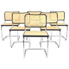 Set of Six Mid-Century Modern Marcel Breuer B32 Cesca Chairs, Italy, 1970s