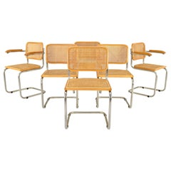 Set of Six Mid-Century Modern Marcel Breuer Cesca Chairs, Italy, 1970s