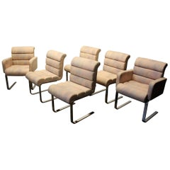 Set of Six Mid-Century Modern Pace Collection Cantilever Chrome Dining Chairs