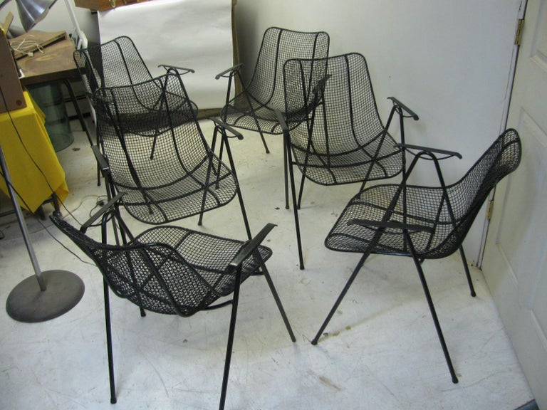 American Set of Six Mid-Century Modern Sculptura Outdoor Dining Chairs by Russell Woodard For Sale