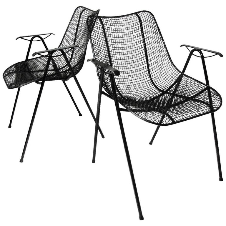 Set of Six Mid-Century Modern Sculptura Outdoor Dining Chairs by Russell Woodard For Sale