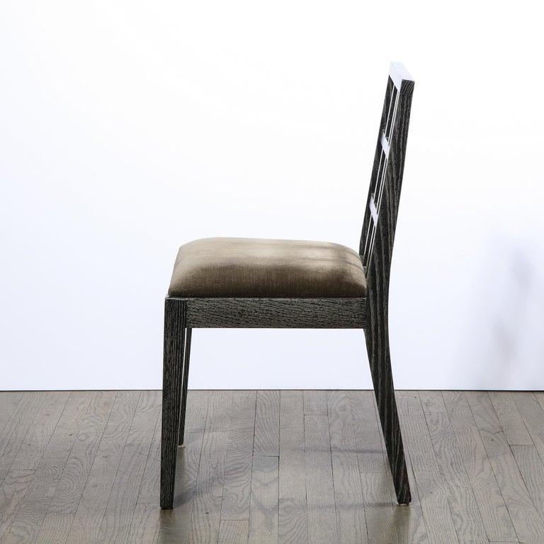 Set of Six Mid-Century Modern Silver Cerused Oak Dining Chairs by Eugene Schoen For Sale 5