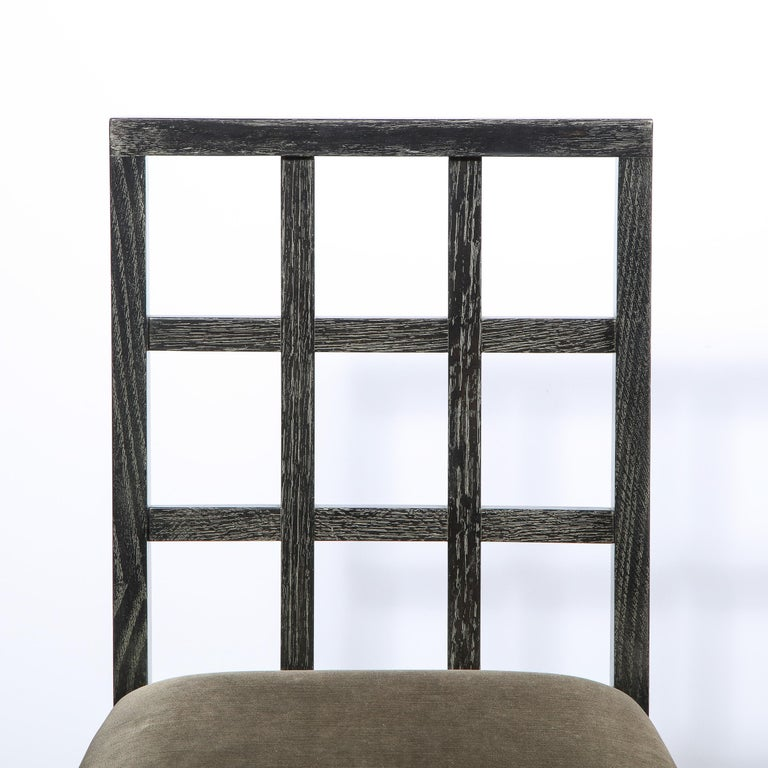 American Set of Six Mid-Century Modern Silver Cerused Oak Dining Chairs by Eugene Schoen For Sale