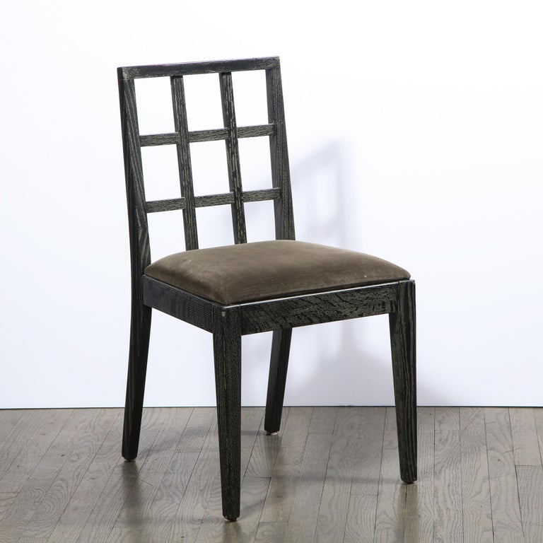 Mid-20th Century Set of Six Mid-Century Modern Silver Cerused Oak Dining Chairs by Eugene Schoen For Sale