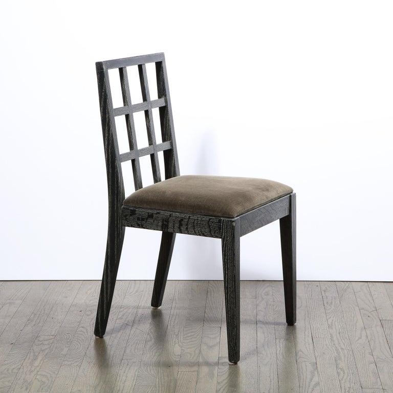 Velvet Set of Six Mid-Century Modern Silver Cerused Oak Dining Chairs by Eugene Schoen For Sale
