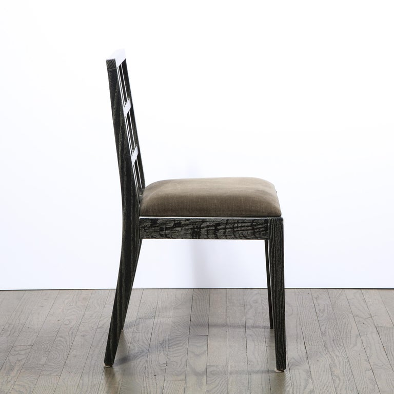 Set of Six Mid-Century Modern Silver Cerused Oak Dining Chairs by Eugene Schoen For Sale 1
