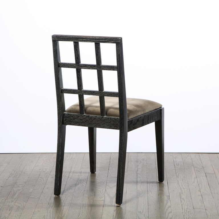 Set of Six Mid-Century Modern Silver Cerused Oak Dining Chairs by Eugene Schoen For Sale 2