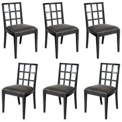 Set of Six Mid-Century Modern Silver Cerused Oak Dining Chairs by Eugene Schoen