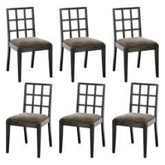 Set of Six Mid-Century Modern Silver Cerused Oak Dining Chairs by Eugene Schoen