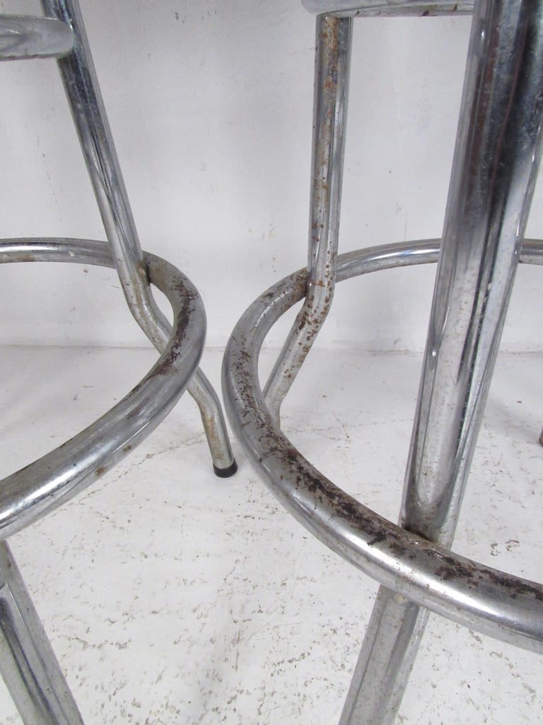 Faux Leather Set of Six Mid-Century Modern Swivel Bar Stools For Sale