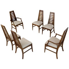 Set of Six Mid-Century Modern Tall Tapered Shape Back Dining Chairs