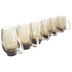 Set of Six Mid-Century Modern Tinted Glass Mugs by Libbey Glass Co.