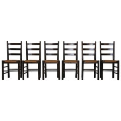 Set of Six Mid-Century Modern Wood and Rush Chairs, France, 1950s