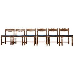 Set of Six Mid-Century Oak Danish Dining Chairs '6'
