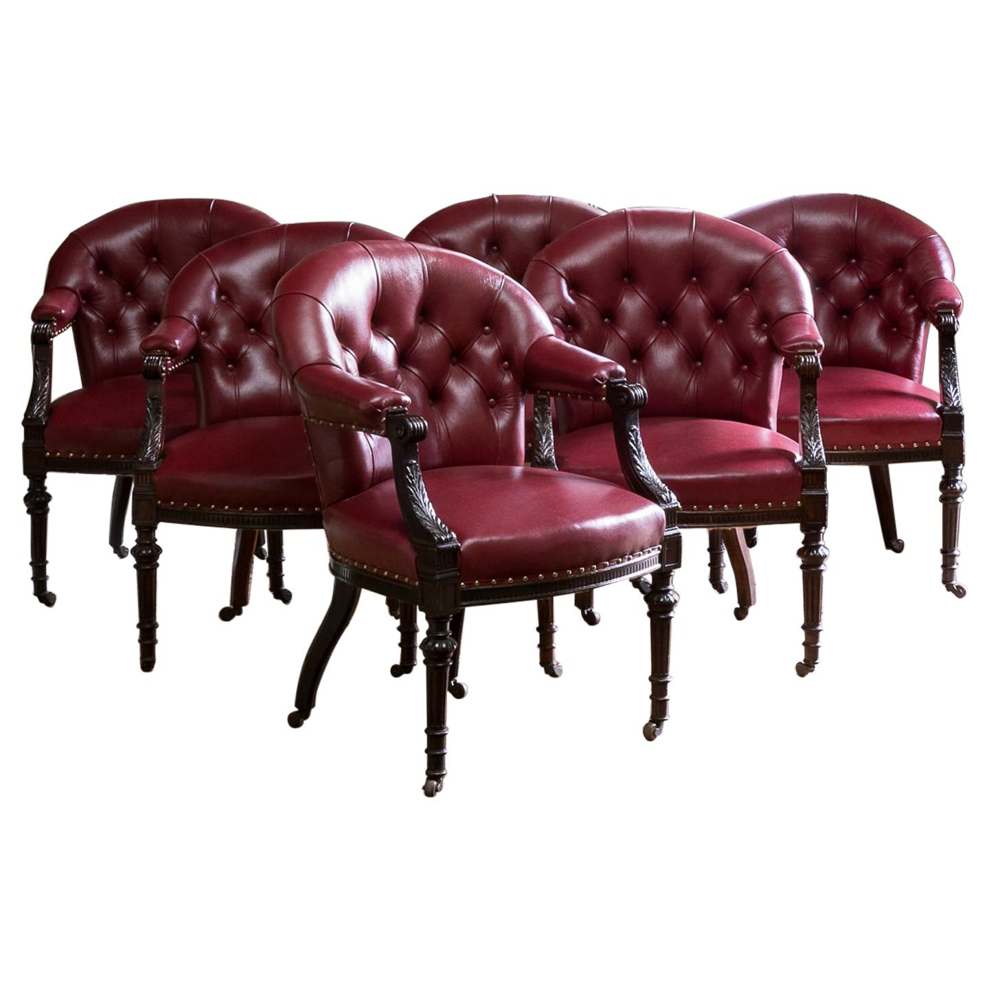 Set of Six Mid-Victorian Carved Oak and Leather Upholstered Club Armchairs