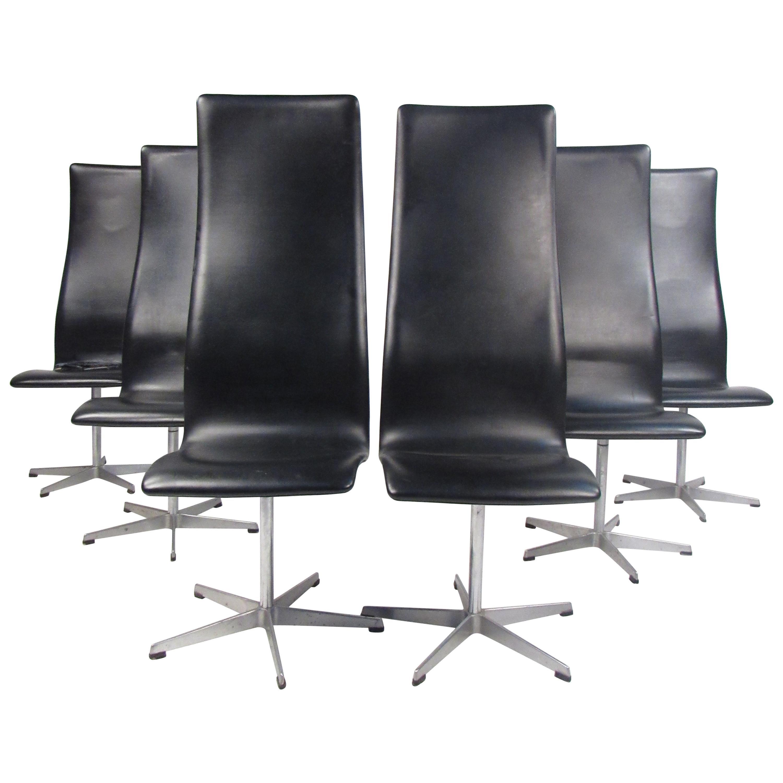 Set of Six Midcentury Arne Jacobsen for Fritz Hansen Swivel Chairs