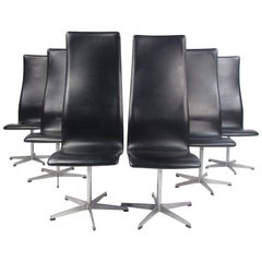 Set of Six Midcentury Arne Jacobsen for Fritz Hansen Swivel Chairs