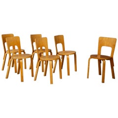 Set of Six Midcentury Chair by Alvar Aalto First Edition for Artek from 1950s