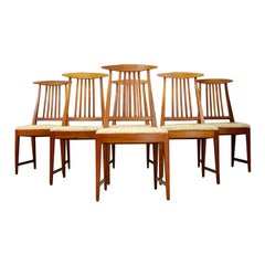 Set of Six Midcentury Chairs American Design Brown in Original Fabric, 1950s