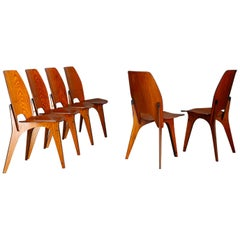 Set of Six Midcentury Chairs by Eugenio Gerli for Tecno, Published, 1958