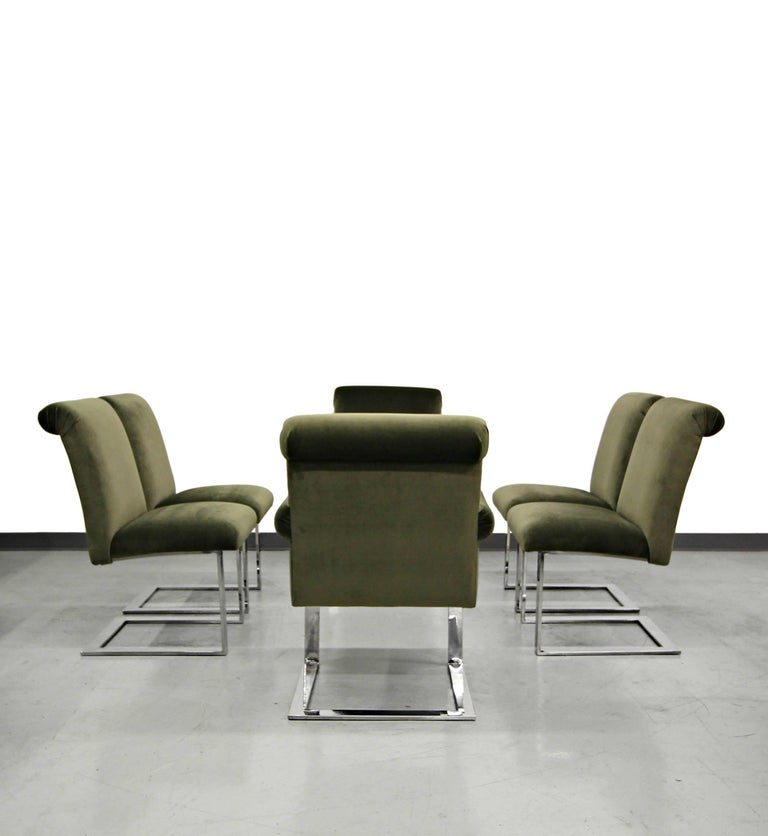 Set of Six Midcentury Chrome Cantilever Dining Chairs by Paul Evans In Excellent Condition For Sale In Las Vegas, NV