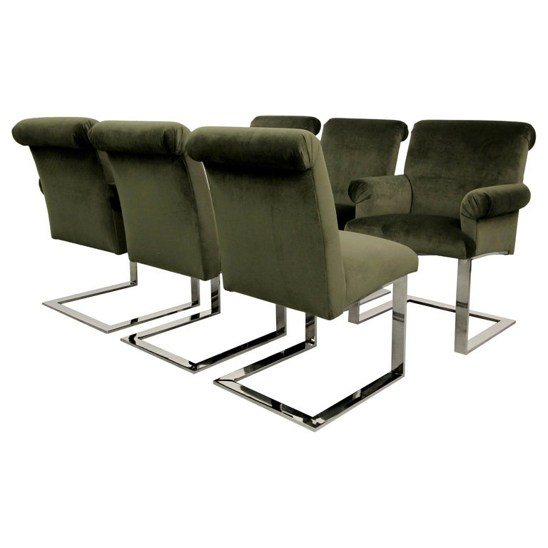 Set of Six Midcentury Chrome Cantilever Dining Chairs by Paul Evans For Sale