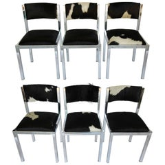 Set of Six Midcentury Chrome Chairs Newly Upholstered in Cowhide