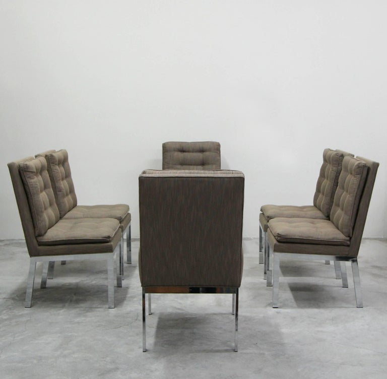 Modern Set of Six Midcentury Chrome Dining Chairs by Milo Baughman
