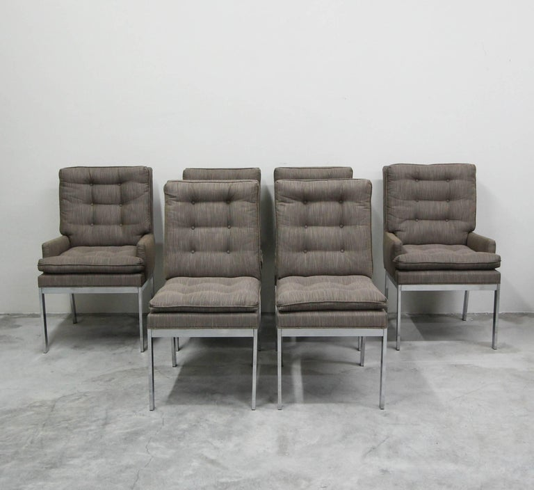20th Century Set of Six Midcentury Chrome Dining Chairs by Milo Baughman
