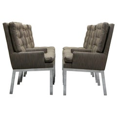 Set of Six Midcentury Chrome Dining Chairs by Milo Baughman