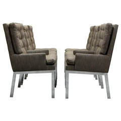Set of Six Midcentury Chrome Dining Chairs
