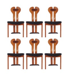 Set of Six Midcentury Danish Postmodern Dining Chairs in Teak and Rosewood