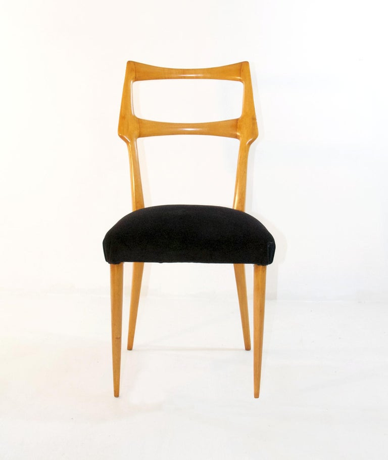 Italian Set of Six Midcentury Dining Chairs in Maple by Augusto Romano, Italy