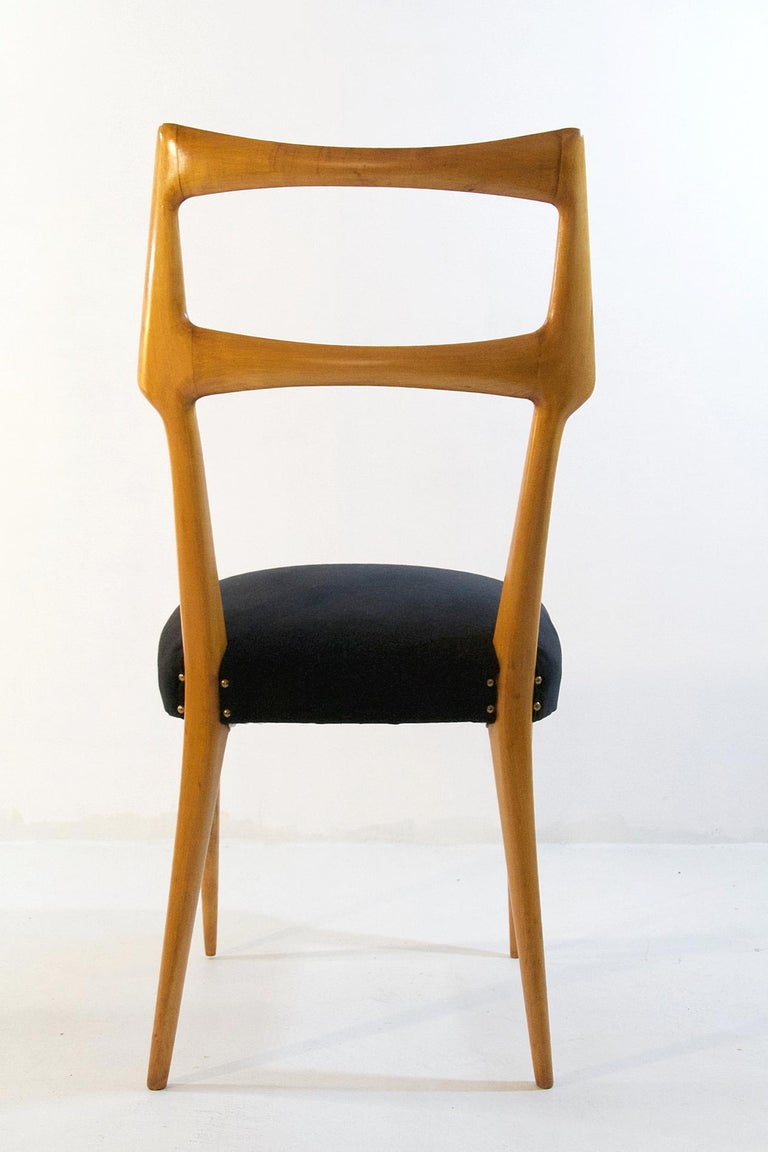 20th Century Set of Six Midcentury Dining Chairs in Maple by Augusto Romano, Italy