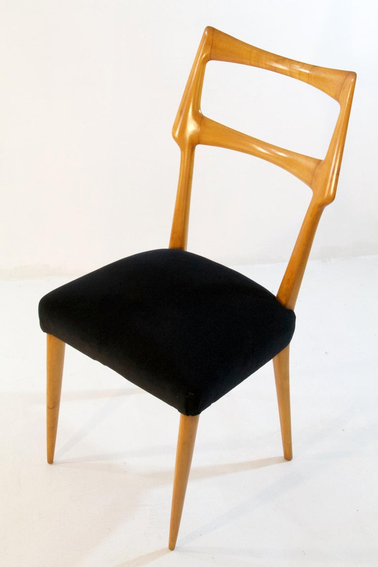 Velvet Set of Six Midcentury Dining Chairs in Maple by Augusto Romano, Italy
