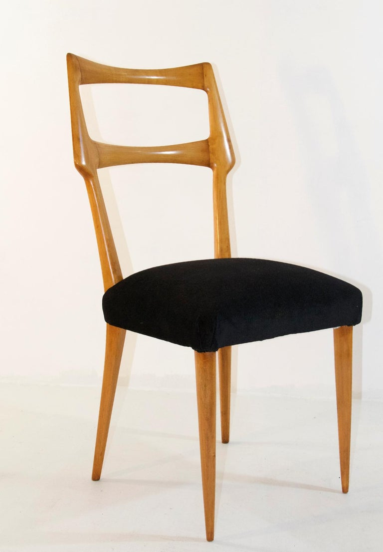 Set of Six Midcentury Dining Chairs in Maple by Augusto Romano, Italy 1