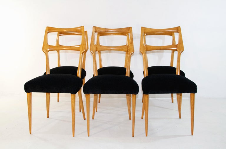 Set of Six Midcentury Dining Chairs in Maple by Augusto Romano, Italy 2