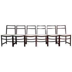 Set of Six Midcentury Dining Chairs by Renato Venturi for MIM Roma Italy