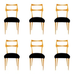 Set of Six Midcentury Dining Chairs in Maple by Augusto Romano, Italy