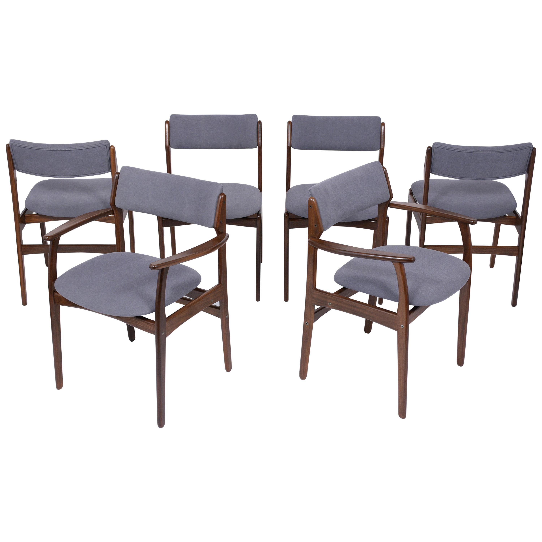 Set of Six Mid Century Modern Teak Dining Chairs