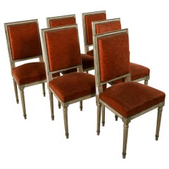 Set of Six Midcentury French Louis XVI Style Painted Side Chairs, Dining Chairs