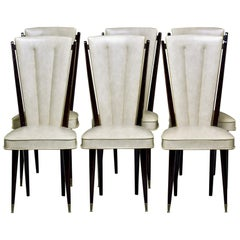 Set of Six Midcentury French Macassar Dining Chairs in Original Vinyl