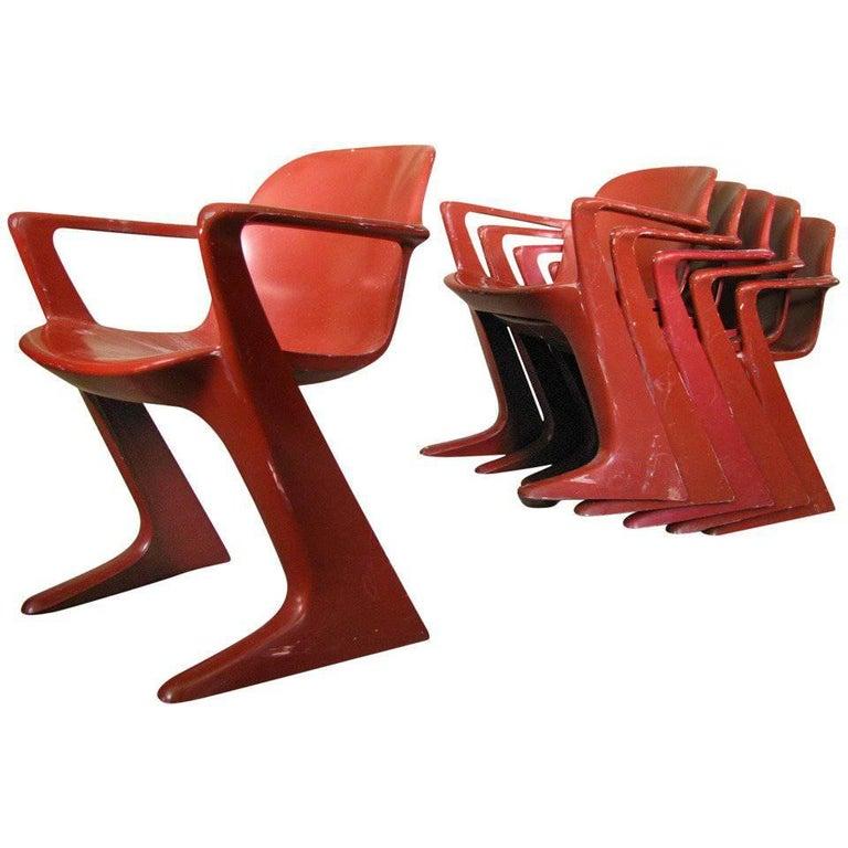 Set of Six Midcentury German Dining Chairs, Ernst Moeckel, 1968