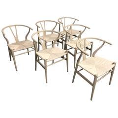 Set of Six Midcentury Hans Wegner Wishbone Chairs